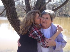 M and Mom  cheek kiss